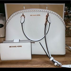 Rose Gold White Michael Kors Purse Set